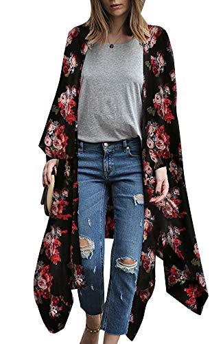 Relipop Damen Bluse aus Chiffon, lockere Tops, Kimono, florales Print, Cardigan - - X-Groß - Floral Kimono Top