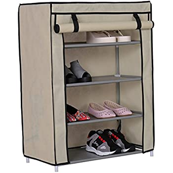 homebi lotus shoe rack four layer in beige store more than 12 pairs of shoes strong structure with extra virgin plastic connectors