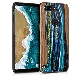 kwmobile Holz Schutzhülle für OnePlus 5T - Hardcase Hülle mit TPU Bumper Walnussholz in Holz Farbbrush Design Blau Braun - Handy Case Cover