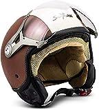 SOXON SP-325 Vintage · Cruiser Motorrad-Helm Scooter-Helm Vintage Helmet Biker Mofa Pilot Chopper Vespa-Helm Jet-Helm Bobber Roller-Helm Retro · ECE zertifiziert · mit Visier · inkl. Stofftragetasche · Braun · L (59-60cm)