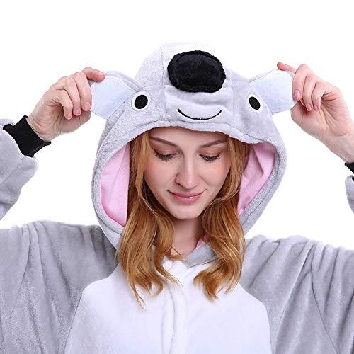 Kostüm Frauen Charmander - BERTHACC Koala Tier Schlafanzug Charmander Onesiee Kigurumi Pyjama Karneval Kostüm Maskenkostüm Kapuzenpulli Schlafanzüge,Grau,L