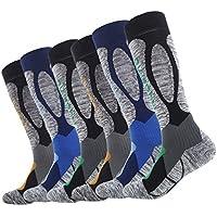 LIOOBO 3 Pares de Calcetines Largos Deportivos de algodón Medias Antideslizantes para Hombres Baloncesto Senderismo Deportes al Aire Libre