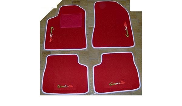 Auto Fußmatten Rot Mit Weißem Rand Komplett Set Aus Teppich Fußmatten Passgenau Mit Italienischer Stickerei Auto