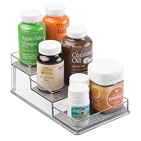 Rangement mDesign pour boites de vitamines, compléments alimentaires et autres - 3 compartiments, Métallique / Transparent
