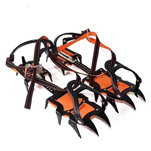 10 Vorrichtung (DONG Schuhspikes Schuhkrallen 10 Zähnen Shoe Teeth Erwachsene Steigeisen Bergsteigen Gletscher Reise Edelstahl-Schneekette Shoe Spikes,Orange)