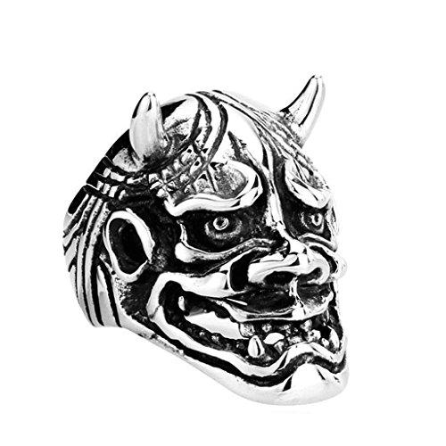 Epinki Edelstahl Herren Ringe, Herrenringe Punk Übertrieben Prajna Maske Spezial Japanisch Gr.70 (22.3) (Japanische Wolf Maske)