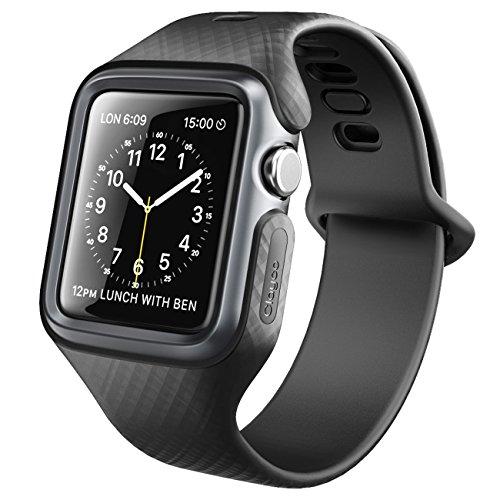 Apple Watch 42mm 3-Band, Clayco [Hera Series] Estuche protector ultra delgado con correas para correa para Apple Watch 42mm Serie 3 / Serie 2/1 Series (Negro)