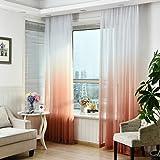 LCLrute 1er Gardine Vorhang transparent aus Voile Dekoschal Gradient Farbe Fenster Screening 270cm x 100cm (Orange)