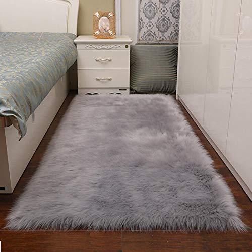 TopSpitgo Faux Lammfell Schaffell Teppich Grau (90 X 60 cm) Long-Hair in Super weich Lammfellimitat Matten   Wohnzimmer Schlafzimmer Kinderzimmer   Als Faux Bett-Vorleger oder Matte für Stuhl Sofa