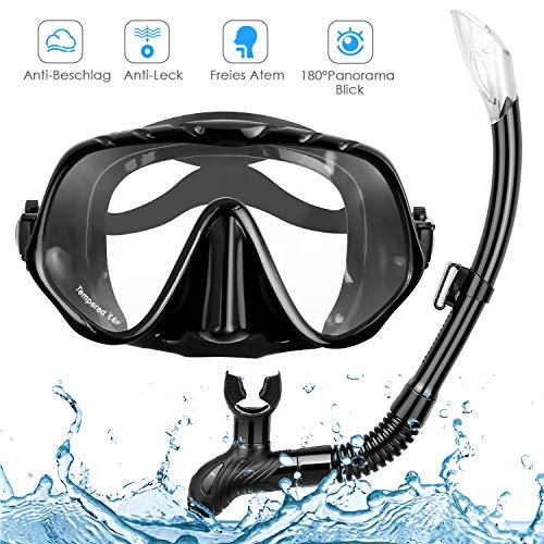 amzdeal Schnorchelset, Taucherbrille mit Schnorchel Tauchset, Gehärtetes Anti-Beschlag Glas, Halbe Gesichtstauchmaske mit 180° Sichtfeld