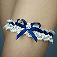 Giarrettiera di pizzo matrimonio sposa biancheria intima regali de nozze addio al nubilato ivorio blu