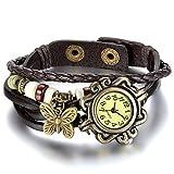 JewelryWe Damen Armbanduhr, Retro Vintage Analog Quarz Uhr mit Schmetterling Beads Kugeln Charm Leder Armkette Armband, Kaffee