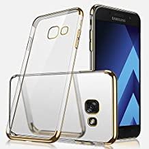 Samsung A310 Case, Galaxy A3 2016 Silicone Case, Samsung A3 2016 Mobile Phone Case, SevenPanda Ultra Thin Slim Soft Crystal Clear TPU Silicone Case for Samsung Galaxy A3 (2016) / A310 Mobile Phone Case Glitter Luxury Plating Frame Protective Mobile Phone Case Transparent Backcover Soft Transparent Anti-Slip Shock Absorbing Cell Phone Case Cover Flexible Bumper Pouch Bag Shell Cover Cases Accessories - Gold