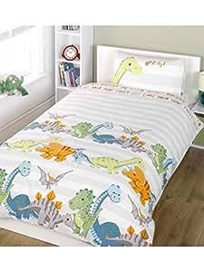 Parure de lit double avec dinosaures et rayures beiges