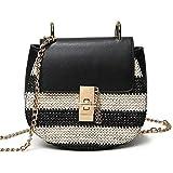 Mode Hobo Handtaschen Trachtentasche Kette Schultertasche Regenbogen (Schwarz)