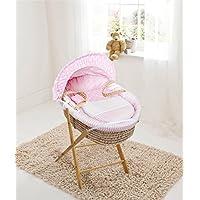 Moisés de palma, diseño de lunares rosa y rayas, cesta y soporte plegable