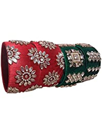 Aashinenterprises Handmade Bangles Collection (Silk Thread Bangles For Women ,Color-Red & Green,Size-2.4)