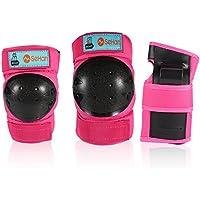 Inliner Schoner Set für Kinder ab 3 bis 12 Jahre - 6 in 1 Schutzausrüstung Set mit 2 Knieschoner + 2 Ellbogenschoner + 2 Handgelenkschoner, Ideal für Skateboarden,Radfahren,Roller oderSki Fahren.