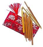 13 Stück Karbonisiert Bambus Häkelnadeln Set Stärken 3mm - 12mm, Etui aus Seide