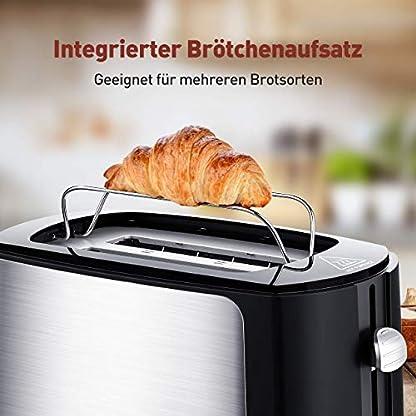 Toaster-2-Scheiben-integrierter-Brtchenaufsatz-Automatik-Toaster-6-BrunungsstufenBrotzentrierung-Krmelschublade-Auftau-Aufwrm-Stopp-Funktion-schwarz