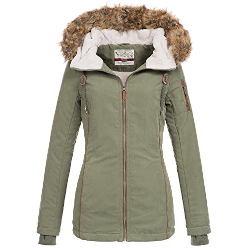 Urban Surface Damen Winter Jacke Mantel Parka Teddyfell warm gefüttert Winterjacke 44392 S-XL, Größe:M - 38;Farbe:Grün