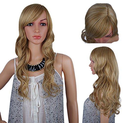 spretty Dirty Blonde Farbe Lang Gelockt Gewellt Perücke für Damen täglich Kleid und Cosplay Kostüm Party