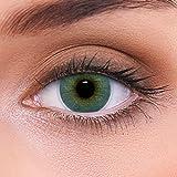 """Stark deckende natürliche blaue Kontaktlinsen farbig """"Atlantis Blue"""" + Behälter von LENZOTICA I 1 Paar (2 Stück) I DIA 14.00 I mit Stärke I -3.50 Dioptrien"""
