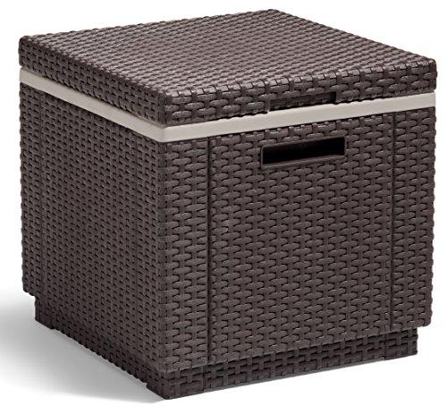gartenbox polyrattan Allibert Beistelltisch/Kühlbox Ice Cube 40 Liter, braun