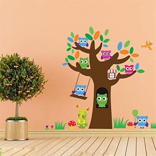 Cartoon Forest Green Tree Branch Tier Eule Wandaufkleber Für Kinderzimmer Vögel Fliegen Jungen Mädchen Kinder Schlafzimmer Wohnkultur -