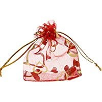 EOZY 50pc Organza Heart Candy Bags Party Wedding Jewelry Favor Gifts Pouches Bag 7x9cm Red
