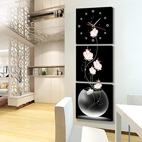 Orologio da muro NHL Versione di orologio da parete di arte creativa della pittura verticale della tripla appeso quadri senza cornice per soggiorno sala da pranzo, 3 pezzi (dimensioni: 60 * 60 cm) Reg