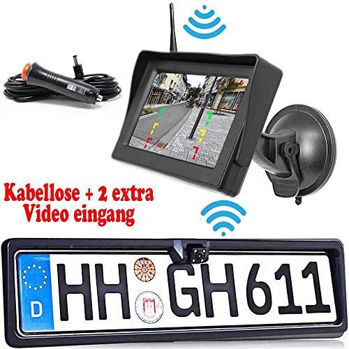 Rückfahrkamera mit Nummernschild inkl. Autoscheibe Monitor - Bis zu 5 Jahre Garantie. Drahtloser Kabellose Funk oder Kabel Vinbindung für PKW KFZ Auto Bus & Transporter - Rear View Camera Kamera -