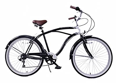 "New Ammaco Snob 19"" Frame Beach Cruiser Bike 6 Speed Mens 26"" Wheel Black"