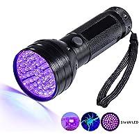 BlueBeach® Linterna Antorcha UV 51 Luces Ultravioletas LED para Autenticación de Billetes Verificación Documento Detectores de Orina Manchas para Mascotas en Alfombras / Tapetes / Piso