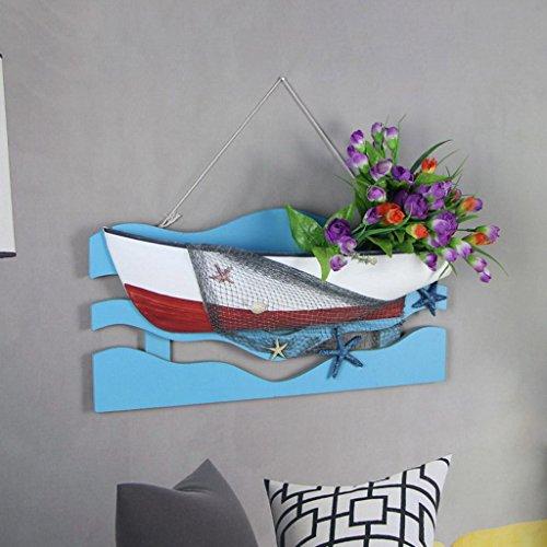 SADWF Mediterranen Stil Kreative Boot-Form Dreidimensionale Wand Auflistete Wand Mit Blumen Racks Marine Boot Home Dekoration Anhänger, 46 * 23,5 cm -
