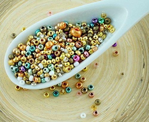 20g Misti Oro Metallizzato, Turchese, Rame, Viola ceca Rotondo in Vetro Seme Perline PRECIOSA Perle Rocaille Distanziale