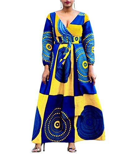 VERWIN Afrikanische V - Ausschnitt Hoch Taille Farbig Block mit Kordelzug Abendkleid Maxikleid Lang Kleider Dress Gelb L (Afrikanische Abendkleider)