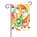 Duble Sided Vintage Watercolor Fruits Kiwi Berries Ice Cream Popsicles Polyester HAUS/Garten Flagge Banner 12x 18/71,1x 101,6cm für Hochzeit Party alle Wetter, Polyester, multi, 12x18