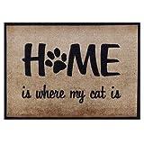 Fußmatte Meine Katze 50x70 cm Waschbar für Außen Innen, Lustige Schmutzfangmatte Beige Rutschfest ohne Trittrand, Teppich für Haustüre Flur Wohnzimmer Home is where my cat is Fußabtreter Geschenk