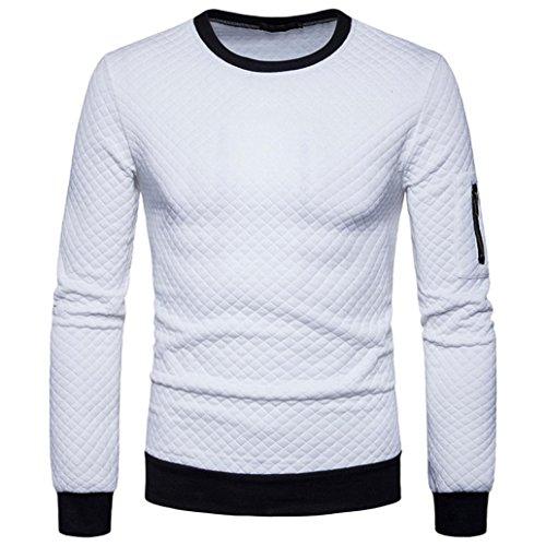 Sweatshirt Herren Longra Herren Sweatshirt Langarmshirt Pullover Männer Warm Herbst Winter Plaid Hedging Sweatshirt Tops Jacke Mantel Outwear (XL, White) -
