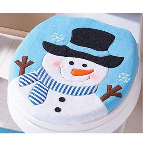 Decoración de Navidad,RETUROM 2 piezas Conjunto de lujo del muñeco de nieve cubierta de asiento de inodoro y alfombras de baño Conjunto de la decoración de Navidad