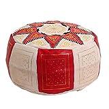 Casa Moro Orientalisches Leder Sitzkissen Marokkanischer Polsterhocker | Inklusive Füllung D50 x H25 cm Sitzpouf | Echtleder Hocker Fußhocker Sitzhocker Pouf aus Marrakesch | Nejma Rot