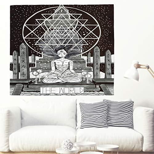 Die Welt Tarot Weissagung Wandteppich Große Arcana Tarot Karte Wandbehang Tapisserie Mädchen Yoga Meditation Japanische Folklore Legende Wanddecke Astrologie Mythologie Wand Dekor white 200x150cm