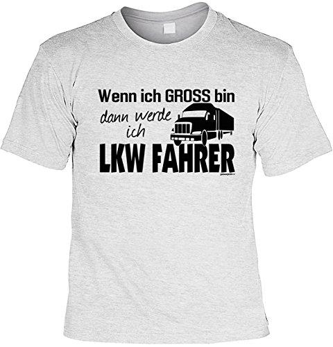 Lustiges Sprüche T-Shirt Weihnachtsgeschenk T-Shirt Wenn ich gross bin dann werde ich LKW Fahrer witzig bedrucktes Funshirt Geschenk T-Shirt Grau
