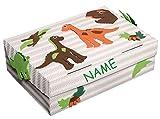 Unbekannt Bastelset Schulbox / Kreativbox - incl. NAME - Dinosaurier weiß Junge - Schule Basteln Malbox für Kinder / Zeichenbox Schachtel / Spielzeugkiste / Box