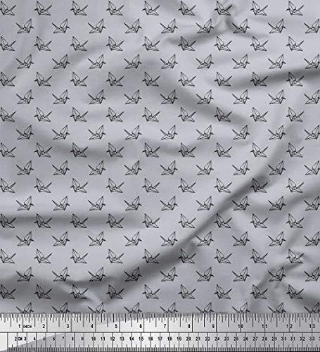Soimoi Grau Baumwoll-Voile Stoff Papier Handwerk Vogel klein Drucken Nahen Stoff 1 Meter 56 Zoll breit