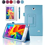 """SAVFY Samsung Galaxy Tab 4 7.0 7-inch Leather Case Cover and Flip Stand, Bonus: + Screen Protector + Stylus Pen + SAVFY Cleaning Cloth (for Galaxy Tab 4 7"""" INCH T230/T231/T235, WiFi or 3G+WiFi) (flip stand SKY BLUE)"""