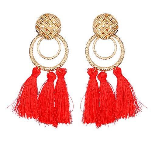Andouy 1 Para Quaste Metall Schmuck Neue Mode Frauen Baumeln Ohrring Ohrringe Eardrop Hoops(D )