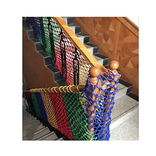 Children's fall protection safety net indoor balcony stair safety net children's pet railing stair net color decorative net shatter-resistant mesh woven mesh rope (Size : 10 * 10M(33 * 33ft))  ◆ Safety net wire diameter 6MM, mesh spacing 10CM.Color: Color rope net.Our protective mesh can be customized according to your needs. ◆Protective net material: Made of nylon braided rope, hand-woven, tightened.Exquisite workmanship, solid and stable, can withstand 300kg weight impact. ◆Features of decorative net: soft material, light mesh, multi-layer warp and weft, fine wiring, fine workmanship; clear lines, non-slip durable, anti-wear. 4