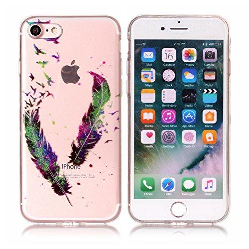 Linvei Hülle für Apple iPhone 7(4.7 Zoll) - Buntes Muster Design TPU Silikon Backcover Case Handy Schutzhülle-Schmetterlinge und Blumen Bunte Federn